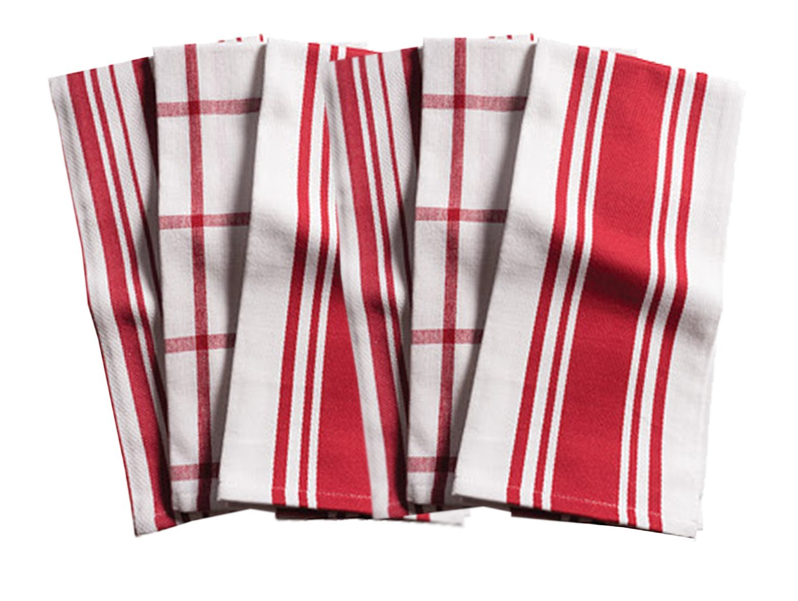 KAF Home Kitchen Towels, Set of 6, Cherry & White, 100% Cotton, Machine Washable, Ultra Absorbent