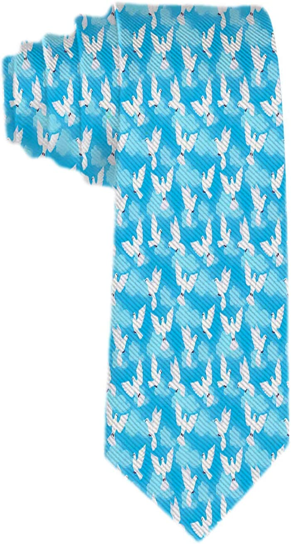 Patrón para hombre con corbata de palomas blancas Corbata de seda de poliéster Corbatas de jacquard tejidas Corbatas Regalo novedoso para hombre