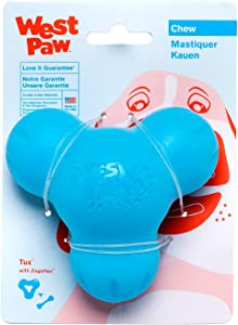 West Paw Zogoflex Tux Treat Dispensing Dog Chew Toy – Interactive Chewing Toys for Dogs – Dog Games for Aggressive Chewers, Fetch, Catch – Holds Kibble, Treats, Made in USA, Large, Aqua Blue