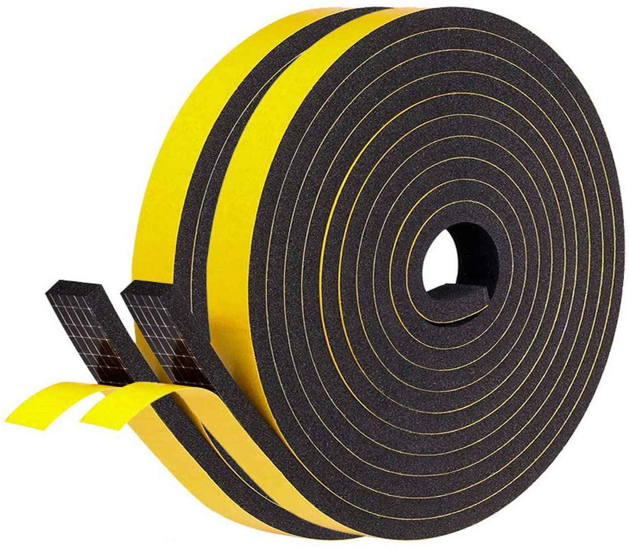 Total 13 Feet 1 Inch Wide X 3//8 Inch Thick fowong White Foam Weather Stripping- 2 Rolls AC Window Insulation High Density Adhesive Foam Seal Tape Neoprene Rubber Seal Strip 6.5 Ft X 2
