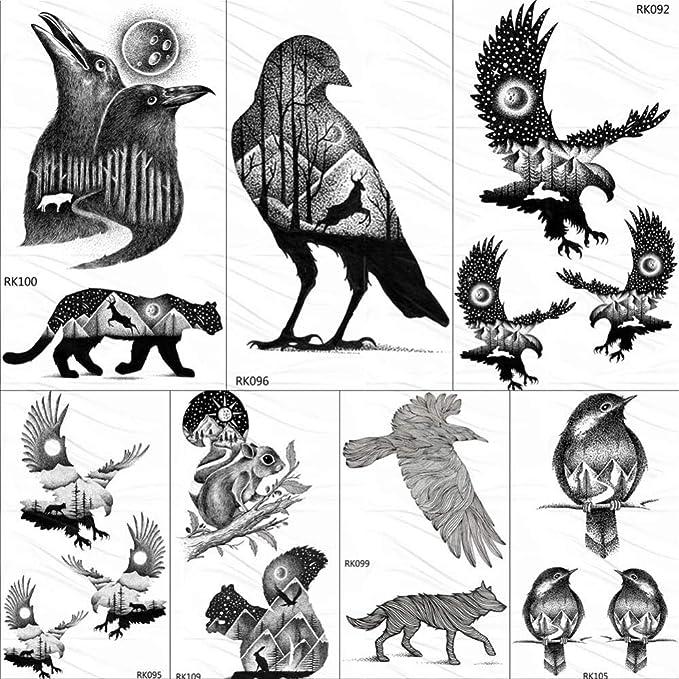 Pegamento Tatuajes Temporales Niños Eagle Bird Montaña Bosque ...