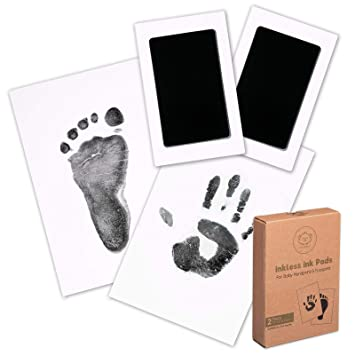 4 Pieces Baby Touch Ink Pad Paw Stamp Print Ink Pad Baby Footprint Handprint Kit with 10 Pieces Imprint Cards for Family Keepsake Baby Shower Present and Registry Black