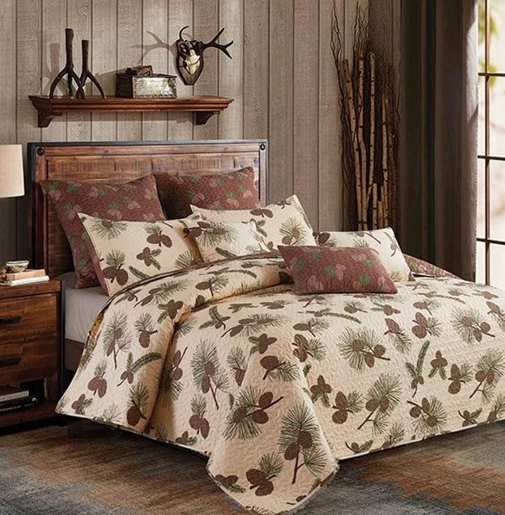 Forest Pines 3pc Full/Queen Size Cabin/Lodge Quilt & Pillow Shams Set