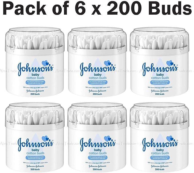Johnsons Baby - Pack de 6 paquetes de 200 varillas de papel (100% algodón puro): Amazon.es: Bebé