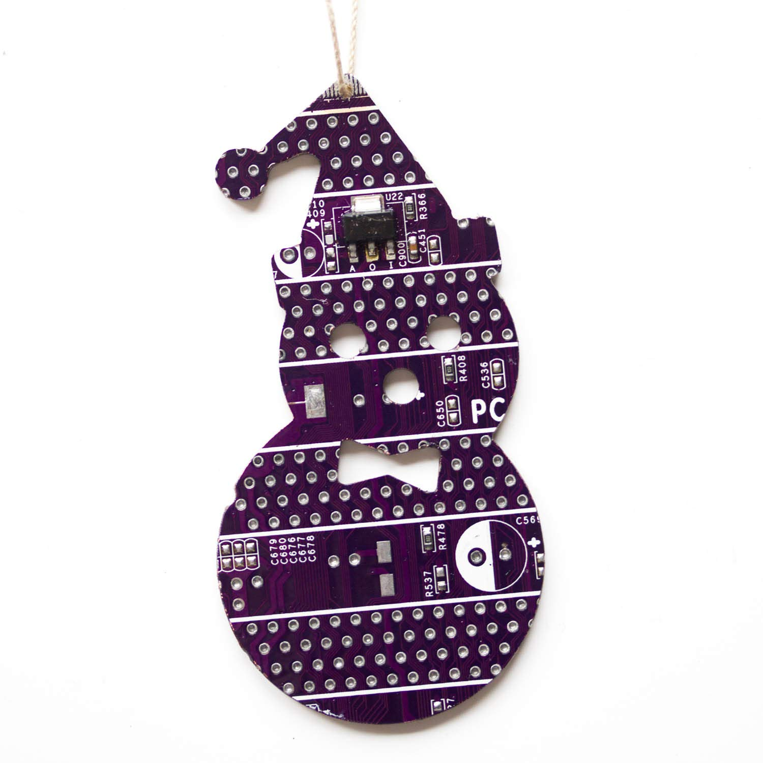 Amazon.com: Purple Snowman Christmas Tree Ornament, recycled circuit ...