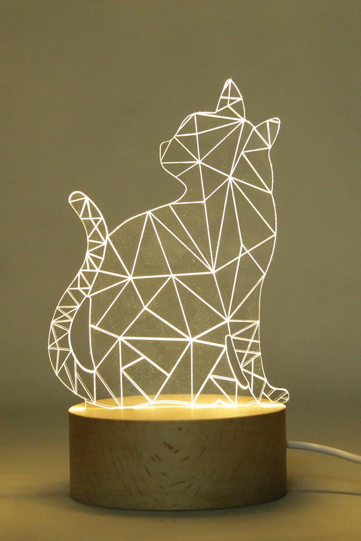Innerest 3D Cat Dog Bear Night Light Table Lamp Home Décor Animal Sculpture Hardwood Kids bed lighting (Warm- Hardwood, One Size- Cat 3)