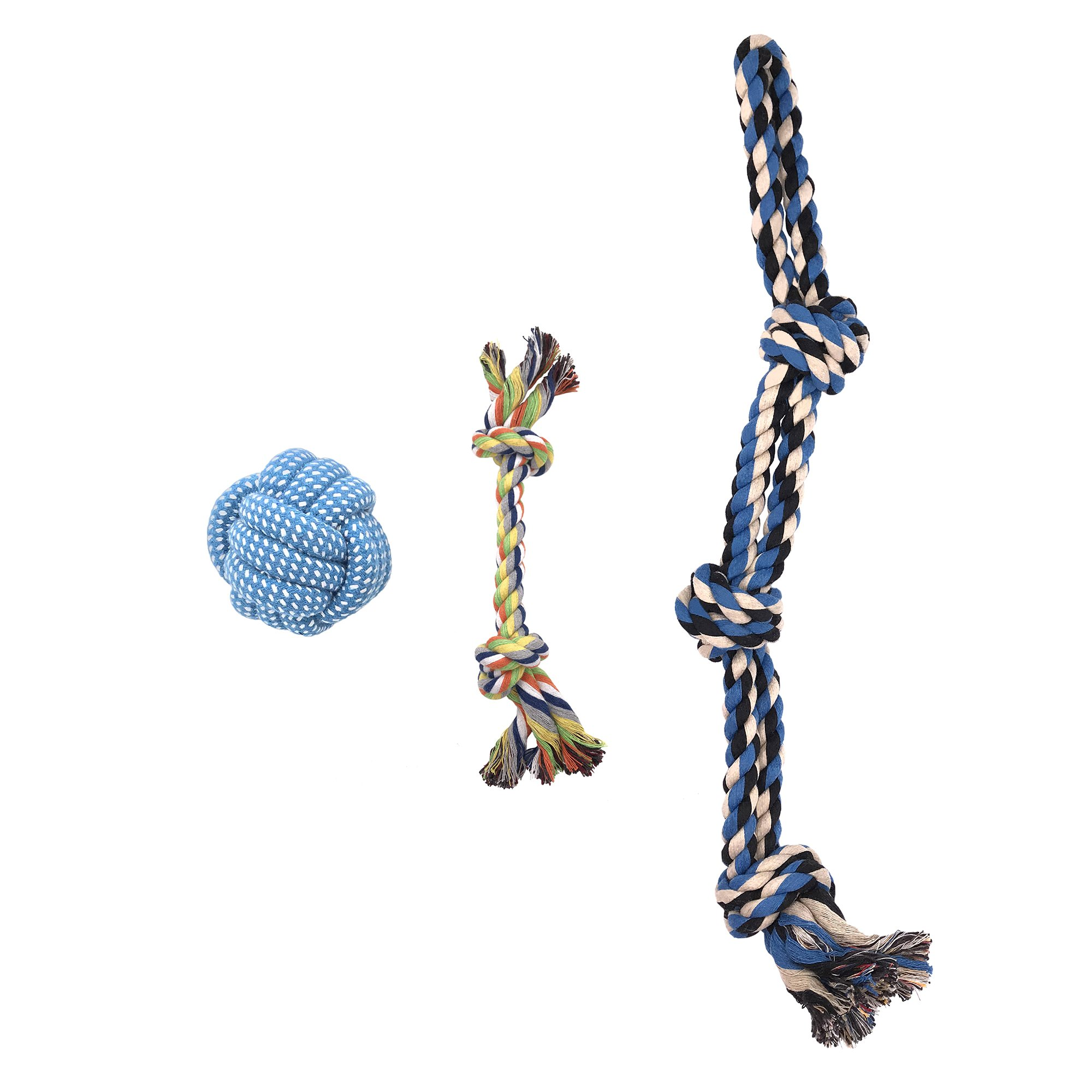 HBGiSi Natural Cotton Rope Puppy Dog Pet Chew Toys Cotton Braided Bones Rope Knot and Dog Balls For Small/Medium/Large Dogs (3)