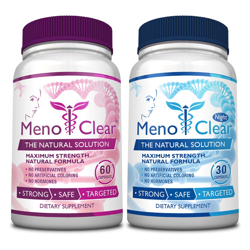 Menoclear Day & Night - Menopause Supplement Relieves Hot Flashes, Night Sweats, Mood Swings & Hormonal Balance - Maximum Strength 2 Bottles - Safe and 100% Natural