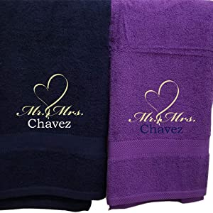 His Hers Couples Towel Set Two Piece Personalized Embroider Names Mr Mrs and Heart (Navy Blue Purple)
