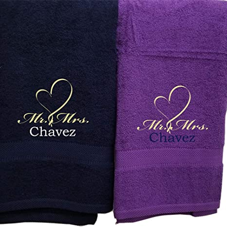 Hooded with Personalised name Bath Robes HEART BEAT Embroidered onto Towels