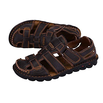 NAMREPUS Mens Summer Outdoor Leather Closed Toe Sandals Adjustable Fisherman Shoes Soft Breathable Beach Shoes Black Brown Size 6-11 | Shoes
