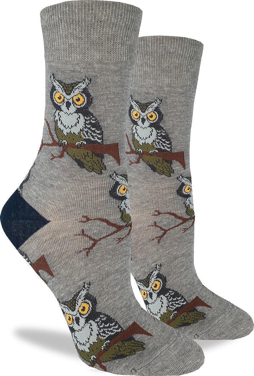 Good Luck Sock Women's Perching Owls Crew Socks - Grey, Adult Shoe Size 5-9 3106
