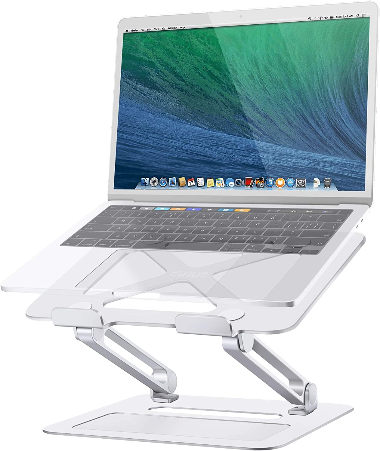 TRUNIUM Laptop Stand Adjustable Ergonomic Aluminum Computer Holder Riser for Desk Compatible with 10-15.6 Inches MacBook, Lenovo, HP, Dell, Samsung, and More Laptops (Silver)