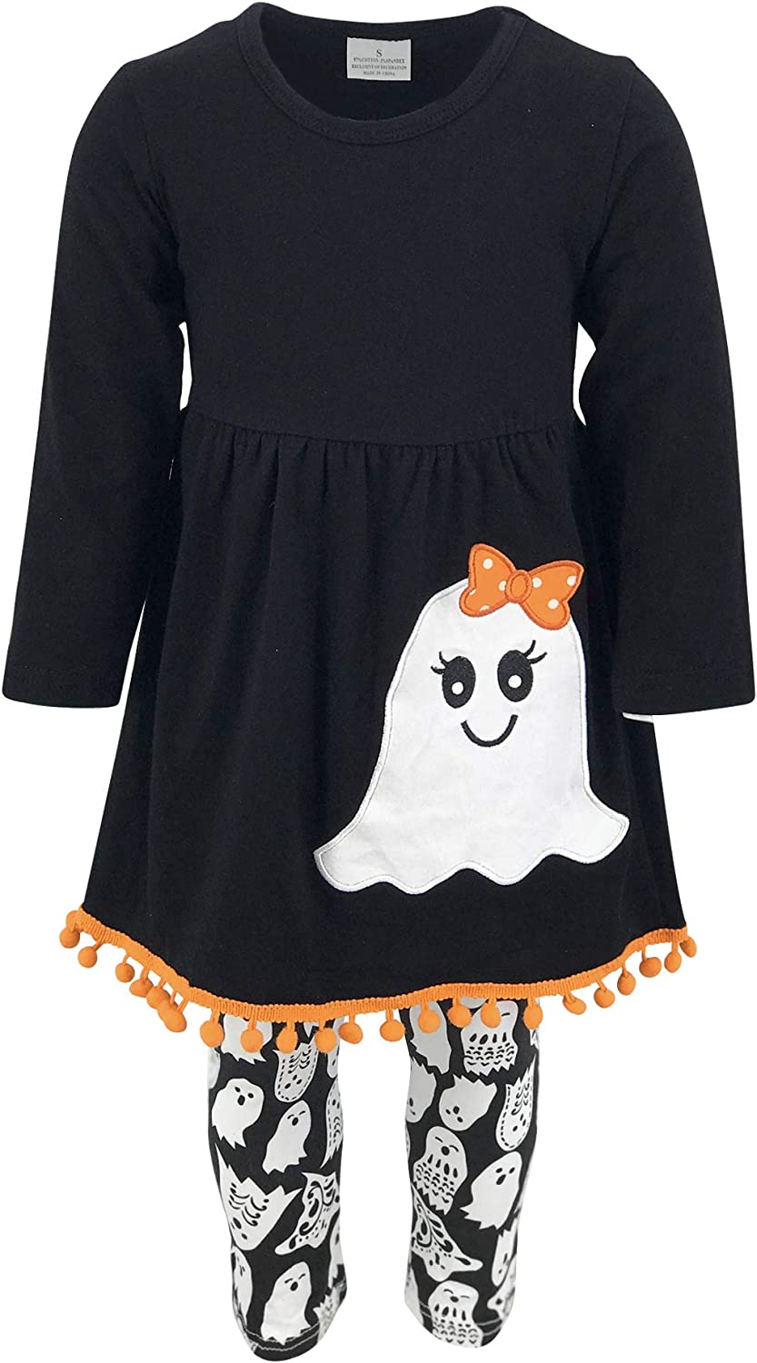 Unique Baby Girls 3 Piece Ghost Halloween Outfit with Infinity Scarf
