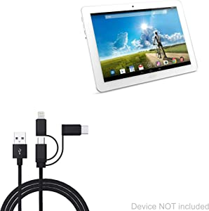 Acer Iconia Tab 10 A3-A20 Cable, BoxWave [AllCharge 3-in-1 Cable] for Acer Iconia Tab 10 A3-A20 - Jet Black