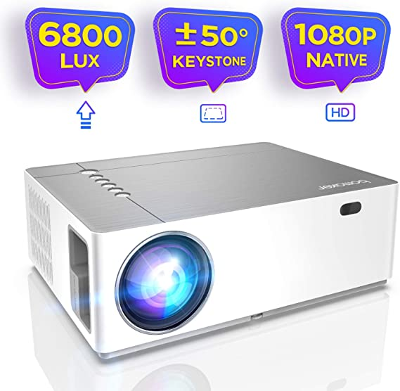 Native 1080P Vidéoprojecteur, BOMAKER 6800 Lumens Ultra HD Video Projectoravec Zoom 4D Trapézoïdale ± 50 ° Keystone Rétroprojecteur 300
