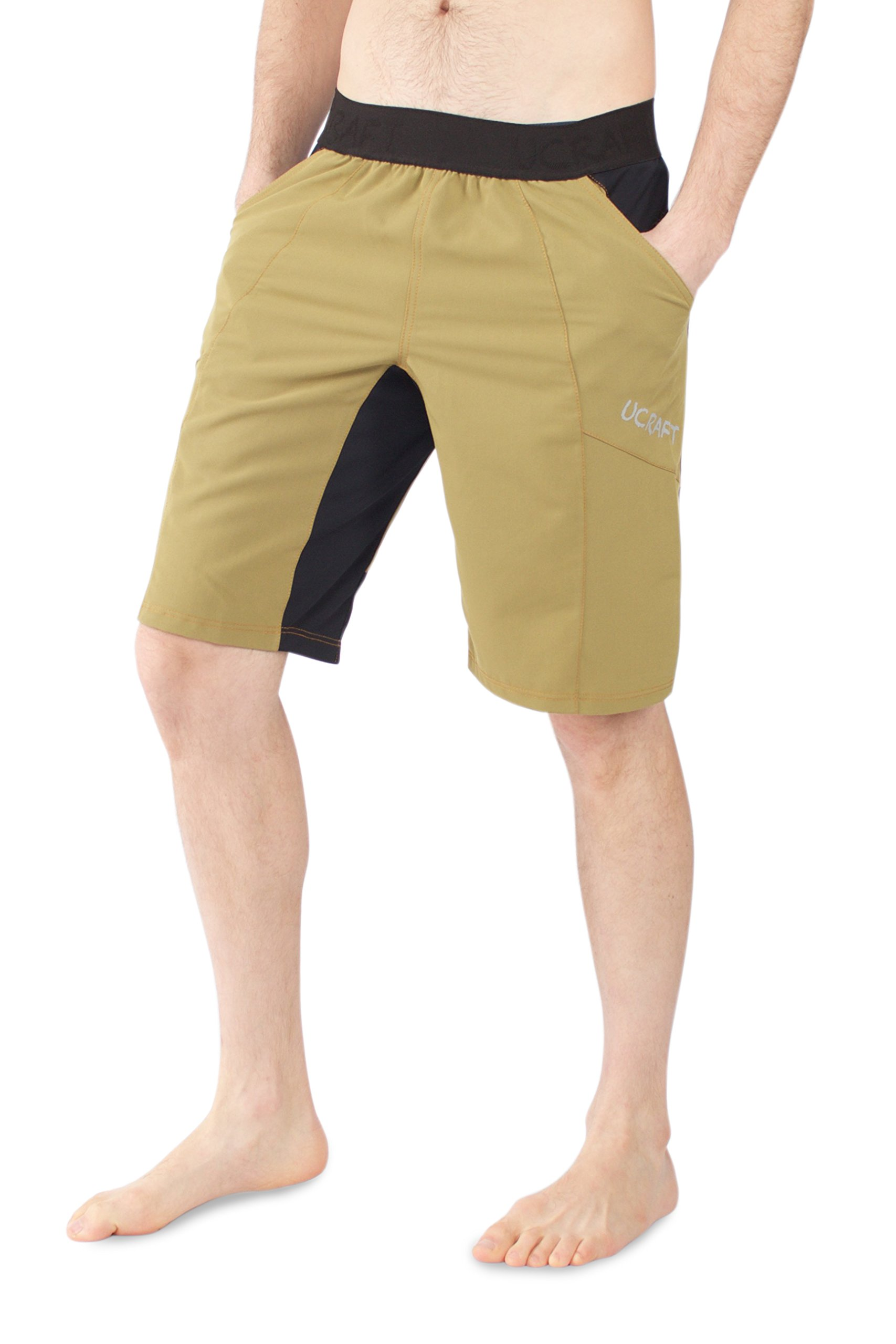 Ucraft Climbing Anti-Gravity Shorts. Stretchy, Lightweight and Breathable Multisport Shorts. (Mustard, L) by Ucraft