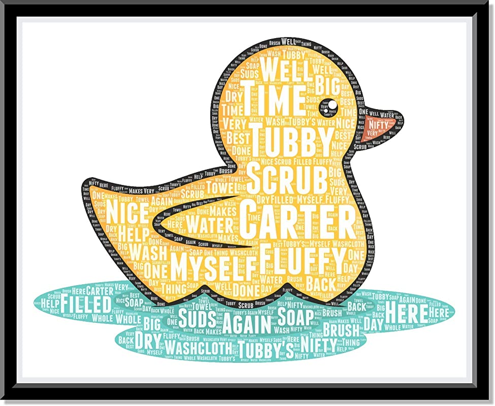 Rubber Ducky Bathroom Decor, Personalized Kids bathroom wall decor, Birthday Gifts, Baby Shower Gifts, Duck Decor, Word Art Typography Rubber Duck, Custom Print…