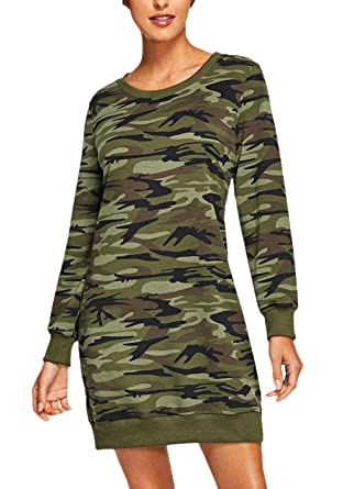 Vestido estilo sudadera de mujer con manga larga