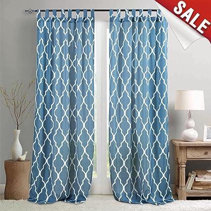 Moroccan Tile Print Bedroom Curtains 108 Inches Length Lattice Quatrefoil  Printed Water-Repellent Tab Top Trellis Canvas Living Room Curtain Panels  ...
