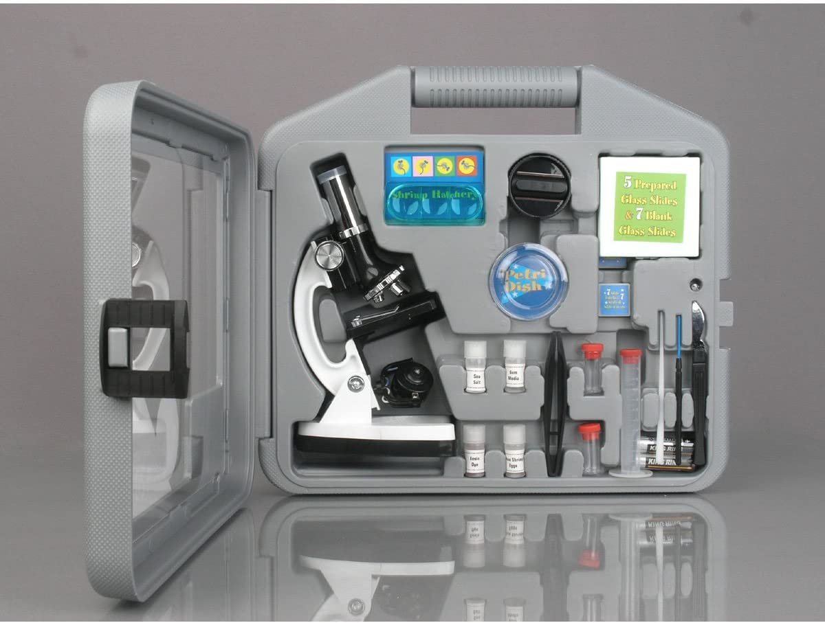 AmScope 120X-1200X 52-pcs Kids Beginner Microscope STEM Kit With Metal Body Microscope, Plastic Slides, LED Light And Carrying Box (M30-ABS-KT51),Black