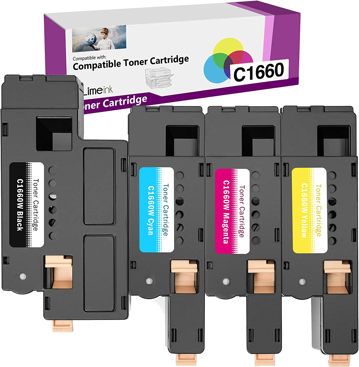 Limeink 4 Pack Compatible High Yield Laser Toner Cartridges Replacement for Dell C1660 4G9HP (1 Black, 1 Cyan, 1 Magenta, 1 Yellow) Compatible with C1660 C1660W C1660cnw 1660 1660W 1660cnw Printers