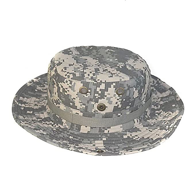 b8d4d96572473 Tactical Camouflage Boonie Hat Army Military Hiking Fishing Sun Bucket Hat  at Amazon Women s Clothing store