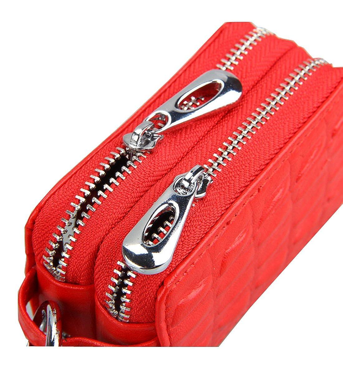 Degohome Car key case Genuine Leather Car Smart Key Chain Key chain Holder Metal Hook Key ring Zipper Bag for Remote Key Fob