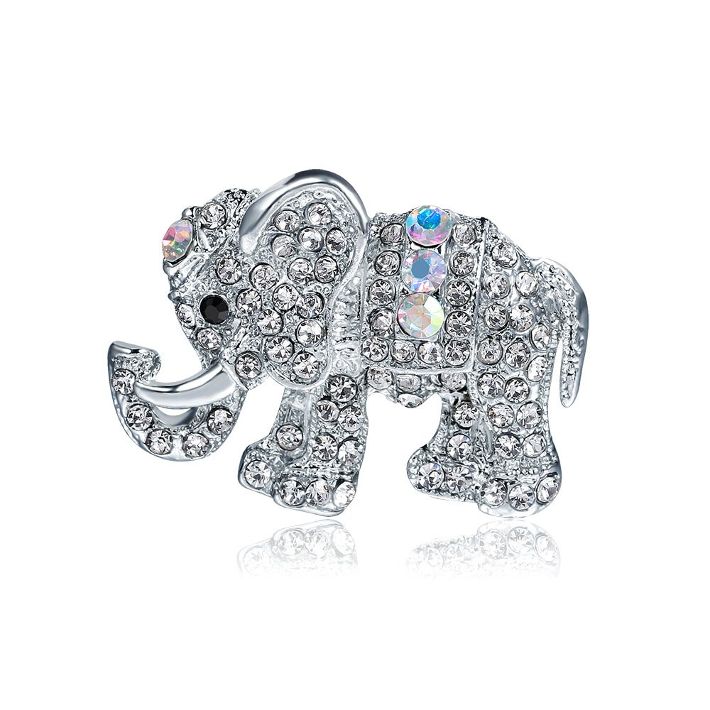 Xeminor Stockton 1X Fashion Characters Elephant Women 'Pin Brooch Rhinestone Covered Scarves Shawl Clip For Women Ladies Girls