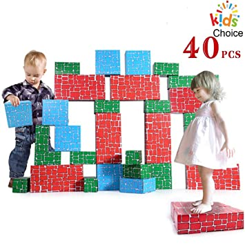 EXERCISE N PLAY Cardboard Blocks,40pcs Building Blocks Extra Thick Jumbo Stackable Bricks in 3 Size for Toddler