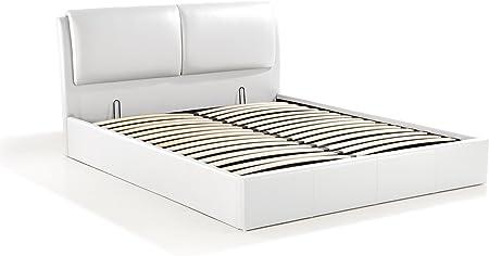 Soliving Cushion Lit Coffre 160x200 Blanc Polyurethane 169