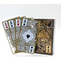 Dragon Totem Design Waterproof Transparent PVC Poker Gold-Plated Edge Plastic Clear Playing Cards