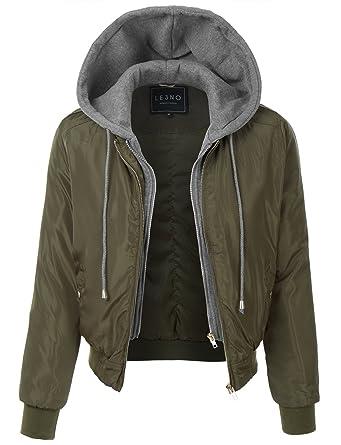 10915eda LE3NO Womens Padded Varsity Bomber Cropped Jacket with Fleece Hoodie at  Amazon Women's Coats Shop