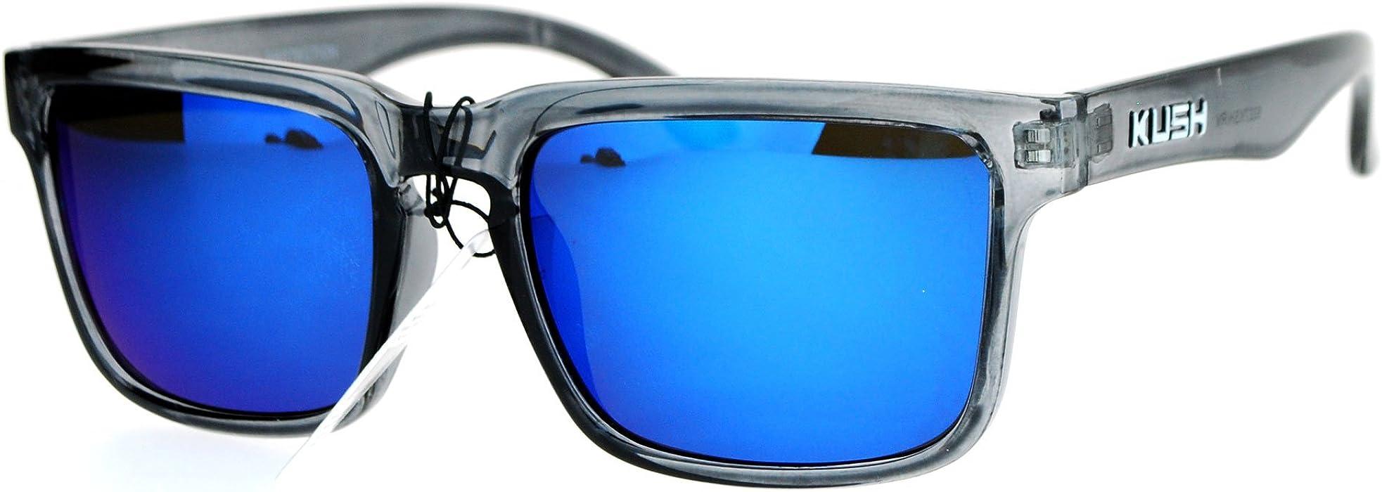 2414937871 Kush Mens Color Mirrored Sport Horn Rim Slate Frame Agent Sunglasses Blue