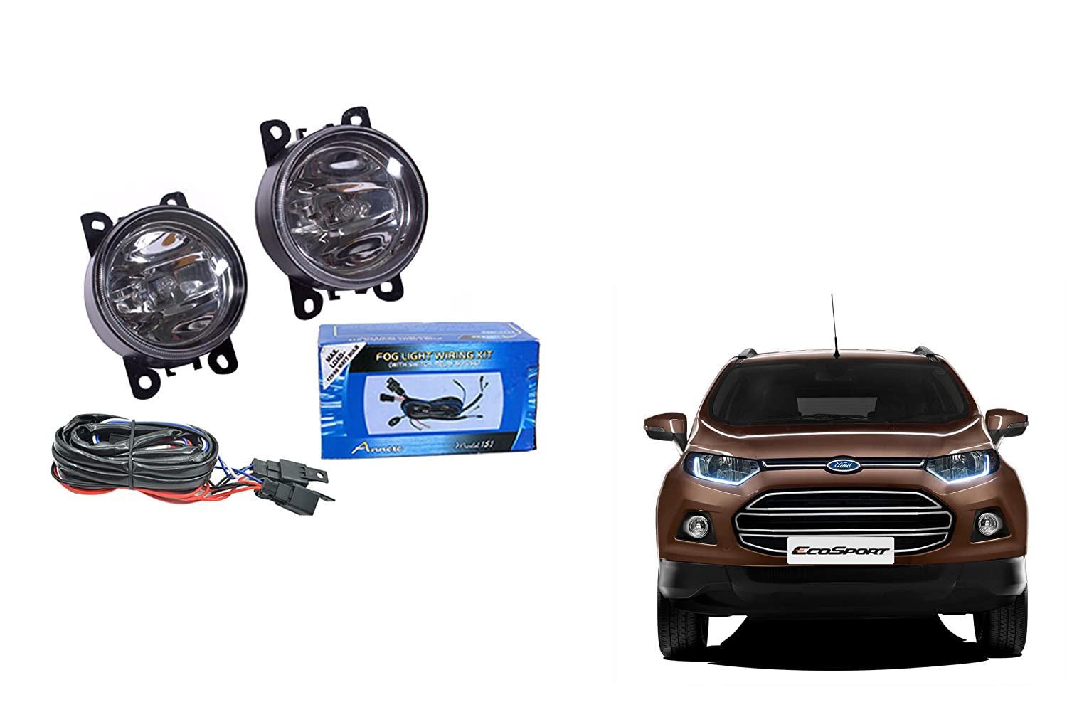 Ford Ecosport Fog Light Lamp Set Of 2 Pcs With Wiring Motor Car Motorbike