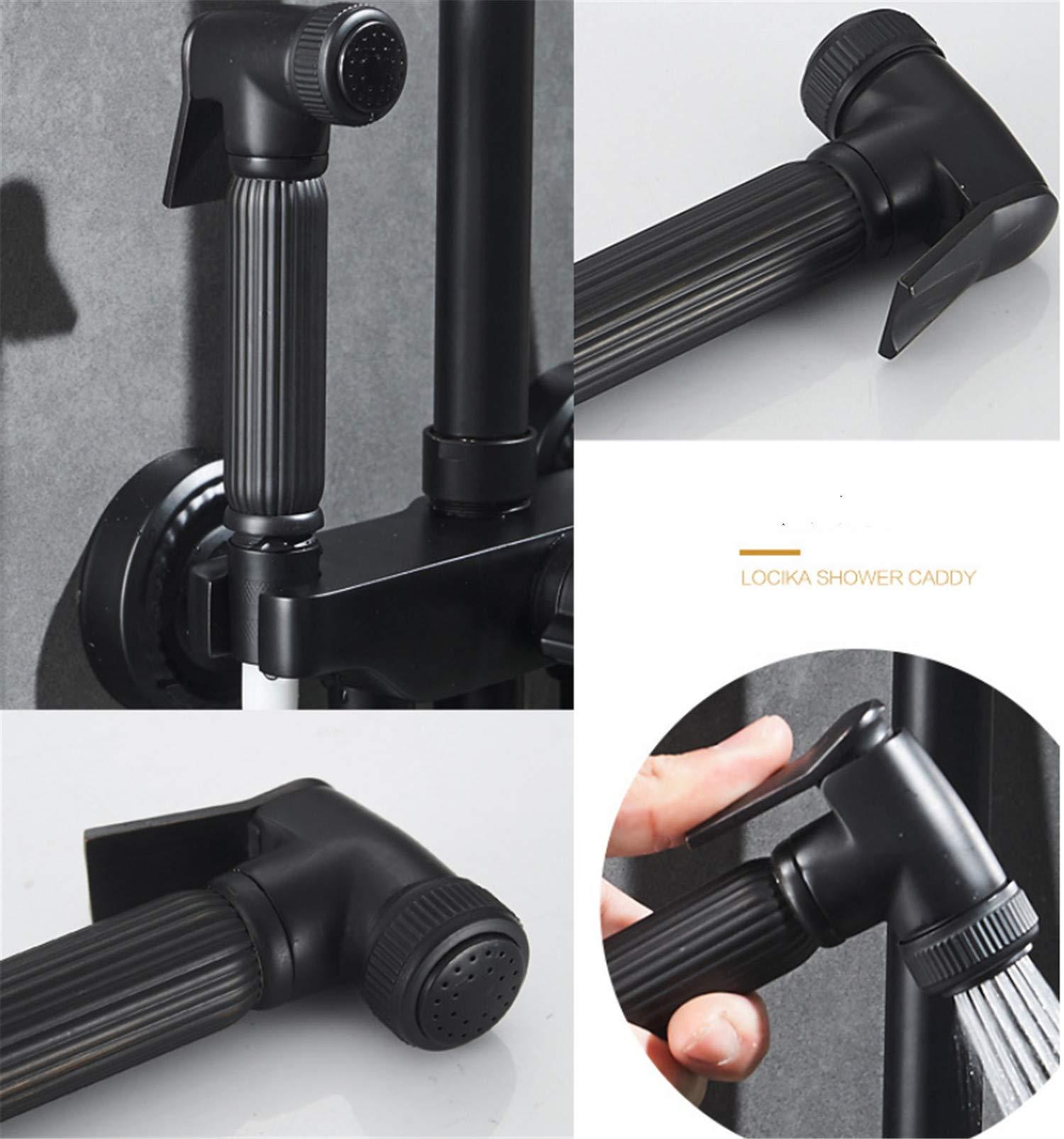 UNIQUE-F Matte Black Brass Body Four-Speed Bathtub Shower Set Rotatable Portable Top Spray Rack Corrosion-Resistant Wear-Resistant by UNIQUE-F (Image #7)