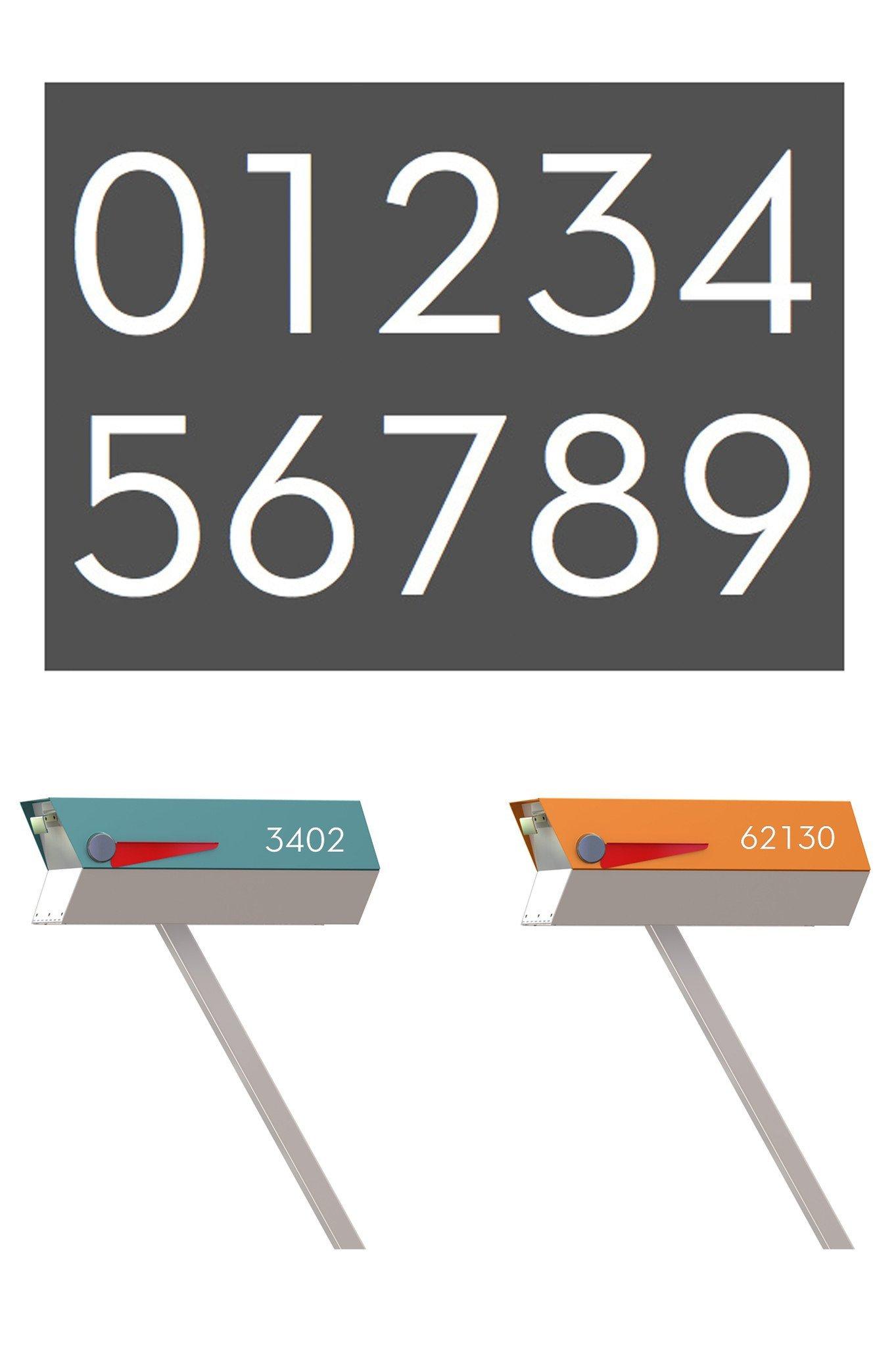 Modern Mailbox Numbers (White)
