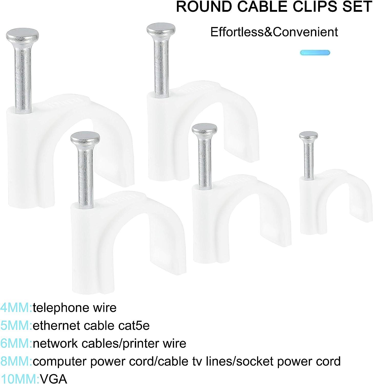 10 mm rainday Kabel-Clips 8 mm 5 mm 6 mm 500 St/ück Kabel-Management Sortiment 4 mm wei/ß