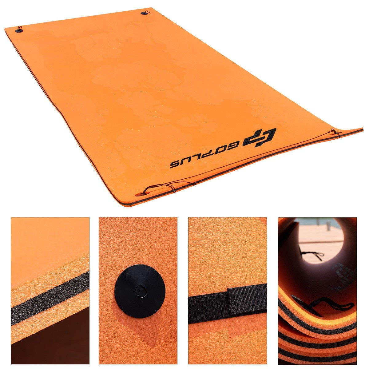 Goplus 12' x 6' Floating Water Pad for Lakes 3 Layer Floating Foam Mat Aqua Buoyancy Pad Designed for Water Recreation and Relaxing (Orange + Black) by Goplus (Image #6)