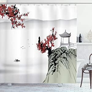 Ambesonne Asian Shower Curtain, River Scenery with Cherry Blossoms Boat Cultural Hints Mystical View, Cloth Fabric Bathroom Decor Set with Hooks, 75