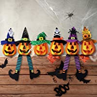Unomor 6 Pack Halloween Pumpkin Decorations, Light Up Foam Pumpkin Jacko Lanterns for Halloween Indoor and Outdoor Decorations