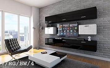 FUTURE 7 Wohnwand Anbauwand Wand Schrank TV Schrank Möbel Wohnzimmer  Wohnzimmerschrank Hochglanz Weiß Schwarz LED