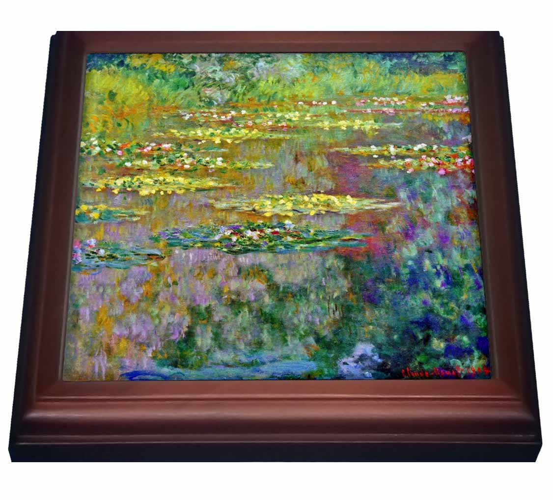 3dRose trv_155656_1 Water Lilies by Impressionist Artist Claude Monet-Water Lilies on Lake Famous Nature Impressionism Trivet with Ceramic Tile, 8 by 8'', Brown by 3dRose