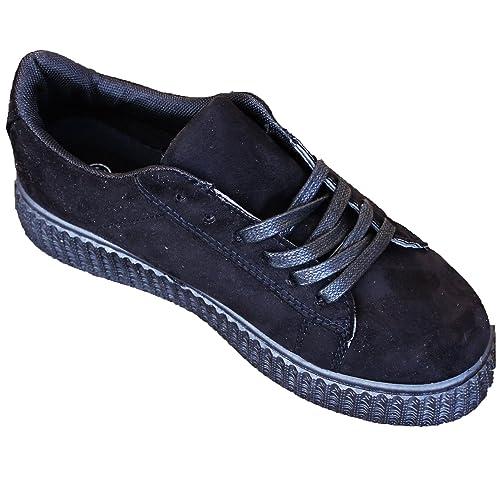 BRANDELIA Zapatillas Ante de Mujer Zapato Plano con Plataforma Estilo Casual y Deportivo, Color Negro: Amazon.es: Zapatos y complementos