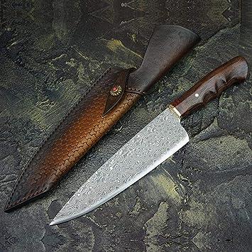 Amazon.com: Cuchillos de acero Damasco para cocinero, mango ...