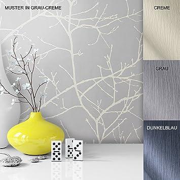 Häufig Vliestapete Vinyl Tapete mit Baummuster Grau Weiß Creme in IO05