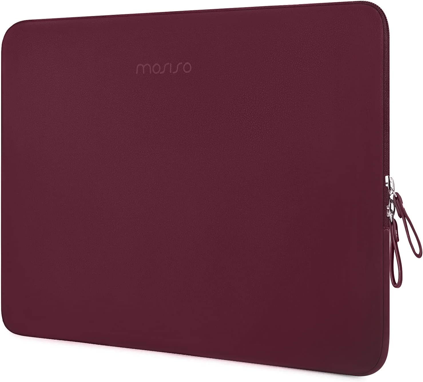 MOSISO Laptop Sleeve Compatible with 13-13.3 Inch MacBook Air/MacBook Pro Retina/2019 2018 Surface Laptop 3/2/Surface Book 2, PU Leather Super Padded Bag Waterproof Protective Case, Wine Red