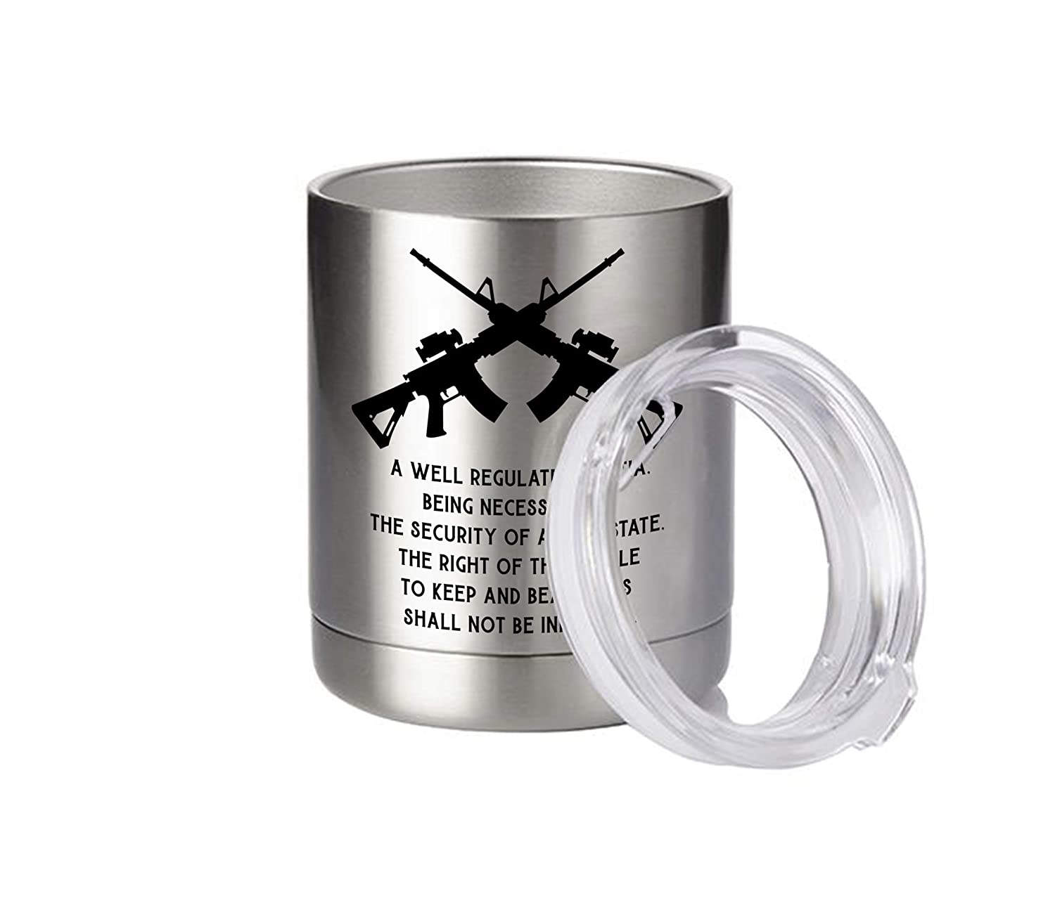 2nd Amendment Whiskey Stainless Steel Lowball Tumbler 10 oz with Lid Constitution Gift AR-15 Rifles