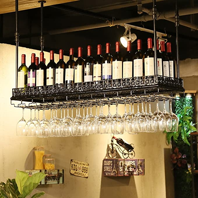 Wine rack Clothes UK Hanging Bar Glass Rack Soporte de Botella Colgante Ajustable Estantería de Vino Negro Tamaño : L