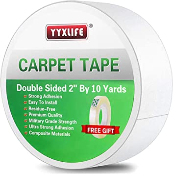 Double Sided 2 Inch x 10 Yards Carpet Tape for Carpet Tiles Area Rugs Adhesive Rug Gripper for Hardwood Floors Carpet Rugs Heavy Duty Sticky Tape White